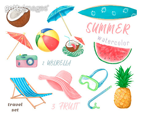 Set of cute summer icons: food, drinks, palm leaves, fruits. Bright summertime poster. Collection of scrapbooking elements for beach party