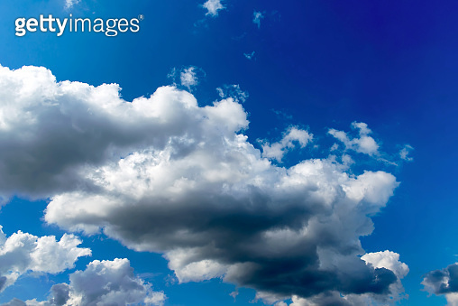 Blue sky with cloud closeup. Natural sky composition