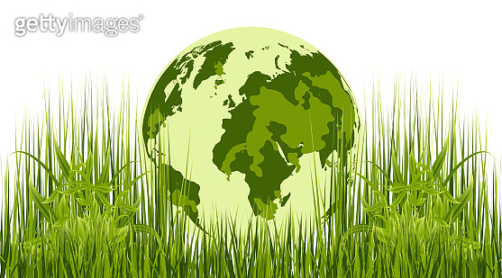 Earth. Model of the Earth on a background of green grass. Vector illustration