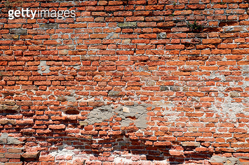 wide Ancient wall of red bricks