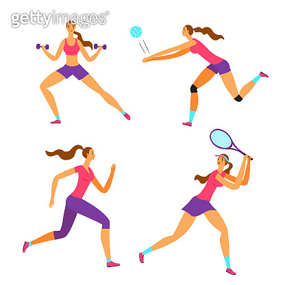 Woman doing sport exersises in different kinds of sport: volleyball, tennis, fitness, run.