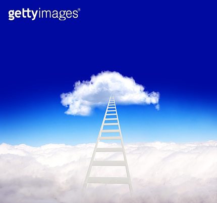 Horizontal banner with stair and clouds on blue sky background