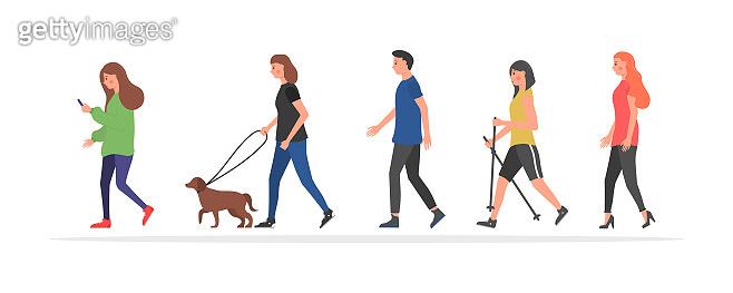 Walking people characters.