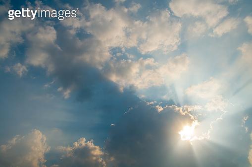 Skylight through cloudy sky