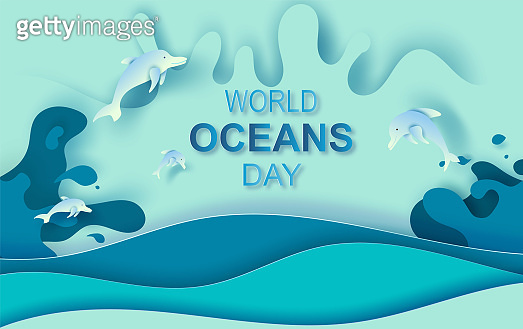 Paper art and cut concept of World Oceans Day. Celebration dedicated to help protect sea earth and conserve water ecosystem. Blue origami craft paper of sea waves.Dolphins are jumping happily in sea.