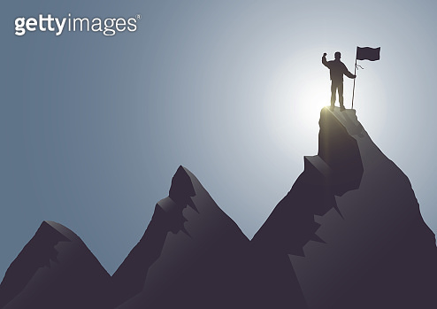 Silhouette of man standing on top of the mountain with flag with fist raised up on sunrise background, success, achievement and winning concept vector illustration