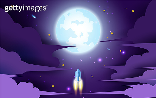 rocket flying in the star to the full moon. Paper art and craft style design. illustration for business startup concept on dark night background for poster or banner. Space rocket launch and galaxy.