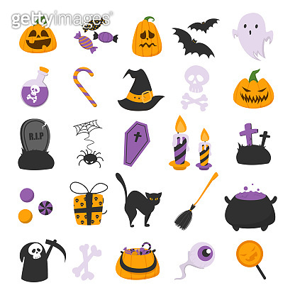 Funny halloween set vector isolated. Illustration of symbols