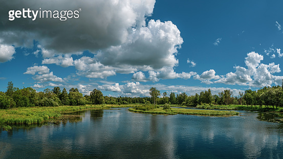 A wide panorama of the beautiful natural landscape. Green forest, lake, blue sky and white fluffy clouds at the sunny summer day