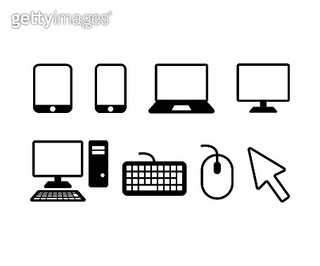 Device icons. smartphone, tablet, laptop and desktop computer
