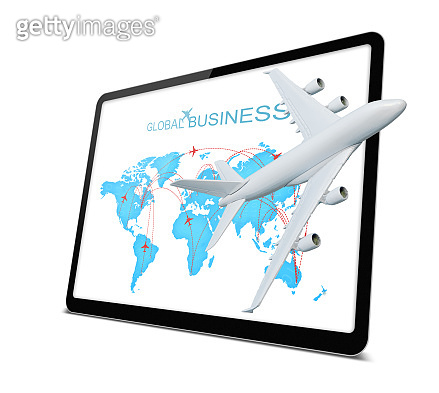 (Clipping path) Digital tablet with globe and airplane isolated