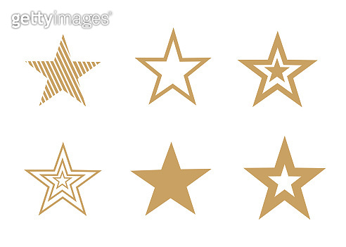 A set of different gold stars isolated on white. Vector drawing
