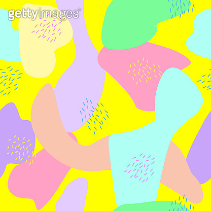 Seamless pattern of bright abstract drawings. Vector illustration of color shapeless patterns.
