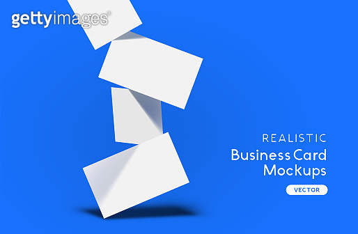 Falling Stack Of Business Cards Mockup