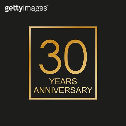 30 years anniversary logo. 30th anniversary celebration label. Design element or banner for birthday, invitation, wedding jubilee. Vector illustration.
