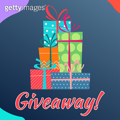 Giveaway banner with gift box stack or pile. Give away poster. Vector illustration.