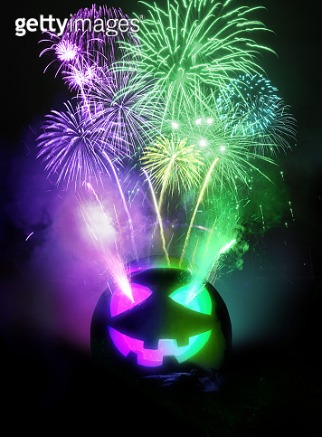 Purple and Green Halloween Party Background With Fireworks