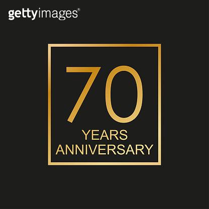 70 years anniversary logo. 70th anniversary celebration label. Design element or banner for birthday, invitation, wedding jubilee. Vector illustration.