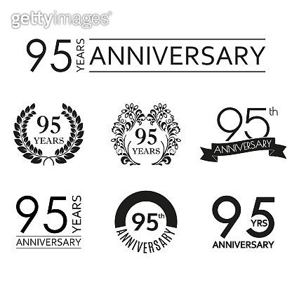 95 years anniversary icon set. 95th anniversary celebration logo. Design elements for birthday, invitation, wedding jubilee. Vector illustration.