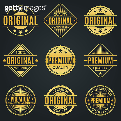 Vintage badge and retro logo set. Original, Premium quality and Guarantee stamp, seal and label collection. Vector illustration.
