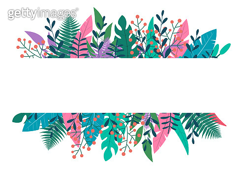 Leaves and green plants frame or border. Floral banner design with space for text. Template for wedding card, spring and summer background, nature poster with colorful foliage. Vector illustration.