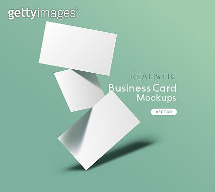 Floating Business Cards Mockup Vector