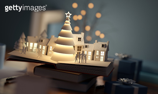 Christmas Scenic Pop Up Book Background