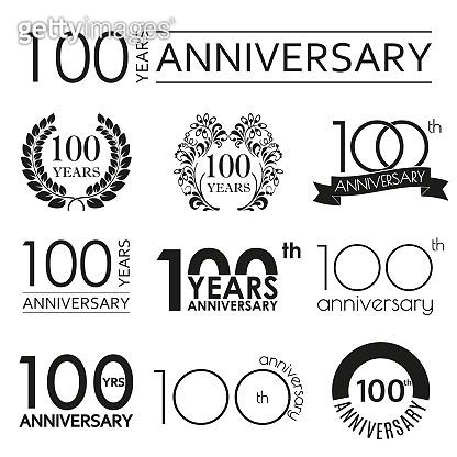 100 years anniversary icon set. 100th anniversary celebration logo. Design elements for birthday, invitation, wedding jubilee. Vector illustration.