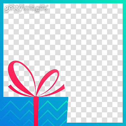 Gift box banner. Social media post layout. Christmas sale, birthday, giveaway frame template. Vector illustration.