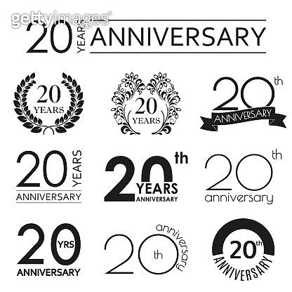 20 years anniversary icon set. 20th anniversary celebration logo. Design elements for birthday, invitation, wedding jubilee. Vector illustration.