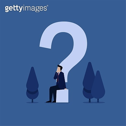 Business flat vector concept businessman sit below question mark metaphor of creative thinking.