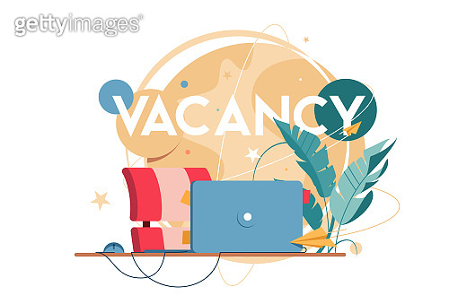 New vacancy with laptop for distance communication at workplace.
