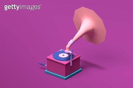3d isometric pink gramophone front view for classic music.