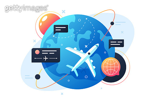 Modern technology plane flies around planet using points and messages.
