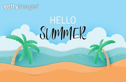 Hello summer with landscape sand and sea poster or banner in paper cut style. Vector illustration holiday season.