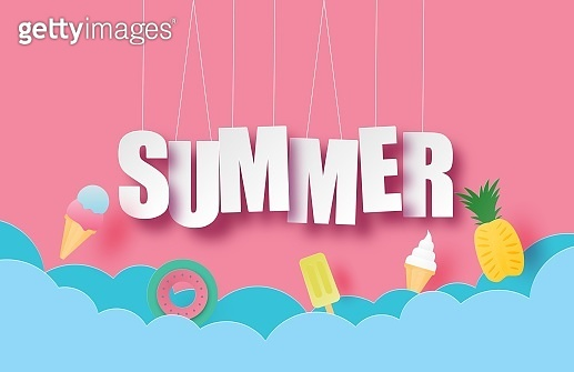 Hello summer banner or poster with hanging text and decoration in paper cut style. Vector illustration digital craft paper art. wallpaper, backdrop, summer season. ice cream, pineapple, swim ring.