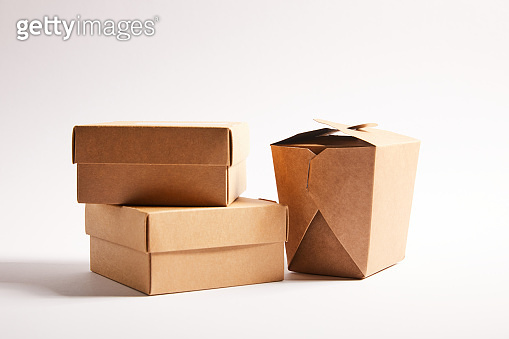 carton boxes with chinese food on white