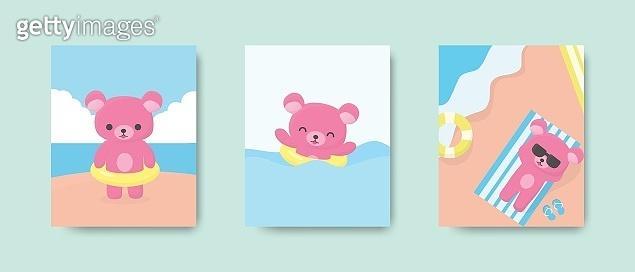 Happy cute bear postcard or poster on the beach in summer season. Vector illustration.