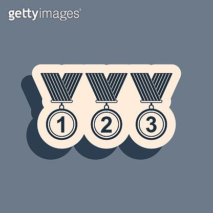 Black Set Medal icon isolated on grey background. Winner simbol. Long shadow style. Vector Illustration