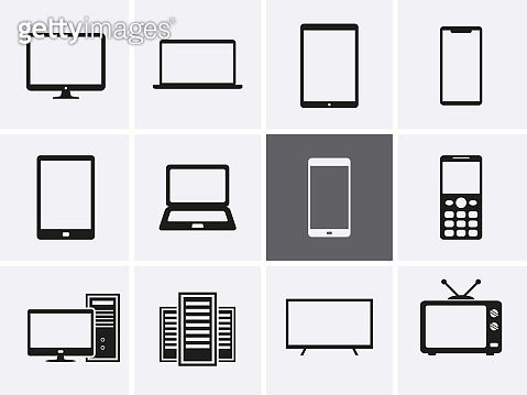 Laptop, computer, tablet and mobile phones Icons set