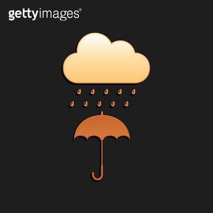 Gold Cloud with rain drop on umbrella icon isolated on black background. Long shadow style. Vector