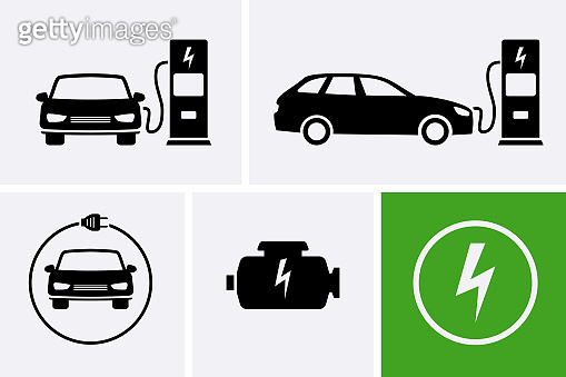 Electric car charging, engine, battery Icons set, electric motor.