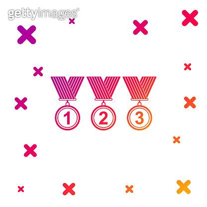 Color Set Medal icon isolated on white background. Winner simbol. Gradient random dynamic shapes. Vector Illustration