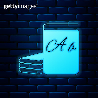 Glowing neon ABC book icon isolated on brick wall background. Dictionary book sign. Alphabet book icon. Vector Illustration