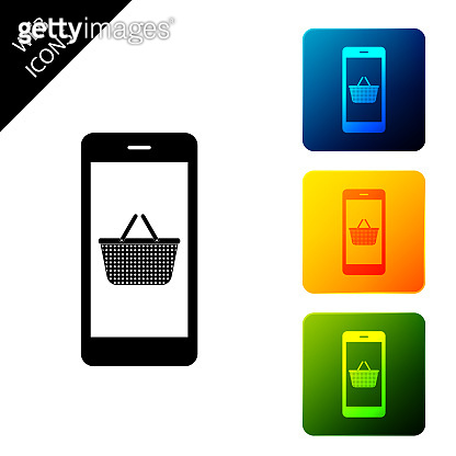 Black Mobile phone and shopping basket icon isolated on white background. Online buying symbol. Supermarket basket symbol. Set icons colorful square buttons. Vector Illustration