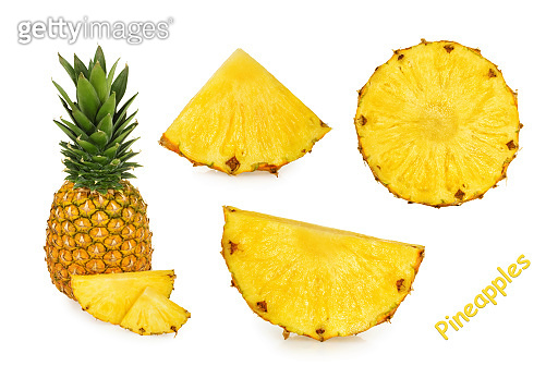 Pineapple slices isolated white background