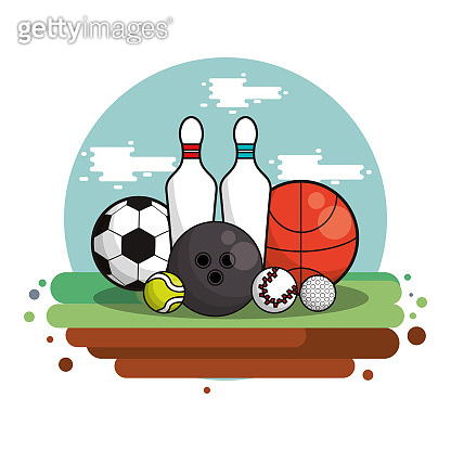 set sports equipment isolated icon
