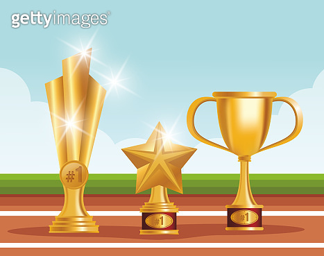 golden trophies awards set icons
