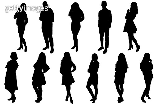 Silhouettes of young people, girls and boys. Black silhouette on a white background, contour-6