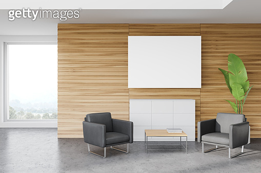 Wooden office waiting room, armchairs and poster